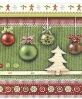 40x feest servetten kerst groen met kerstballen print 33 x 33 cm