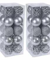 40x glans mat glitter kerstballen zilver 6 cm kunststof kerstboom versiering decoratie