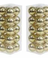 40x kunststof kerstballen glanzend goud 8 cm kerstboom versiering decoratie