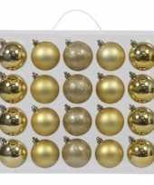 40x kunststof kerstballen glanzend mat 6 cm kerstboom versiering decoratie goud mix