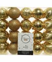 40x kunststof kerstballen mix goud 6 cm kerstboom versiering decoratie