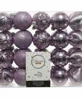 40x kunststof kerstballen mix lila paars 6 cm kerstboom versiering decoratie