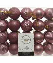 40x kunststof kerstballen mix oud roze 6 cm kerstboom versiering decoratie