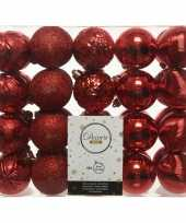 40x kunststof kerstballen mix rood 6 cm kerstboom versiering decoratie