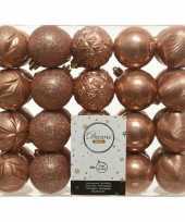 40x kunststof kerstballen mix zacht terra 6 cm kerstboom versiering decoratie