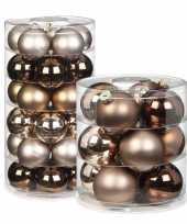 42x elegant lounge mix bruin tinten glazen kerstballen glans en mat