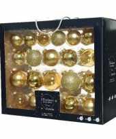 42x glazen kerstballen glans mat glitter goud 5 6 7 cm kerstboom versiering decoratie