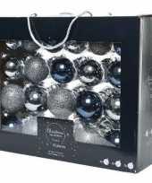 42x glazen kerstballen glans mat glitter grijsblauw donkerblauw 5 6 7 cm kerstboom versiering decoratie
