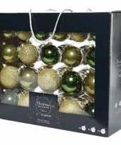 42x glazen kerstballen glans mat glitter groen goud 5 6 7 cm kerstboom versiering decoratie