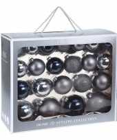 44x glazen kerstballen mat glans blauw 6 7 8 10 cm kerstboom versiering decoratie