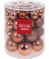 44x kunststof kerstballen mat glans glitter koper 5 6 7 8 cm kerstboom versiering decoratie