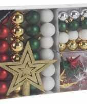 45x kunststof kerstballen mat glans glitter kerstballen zilver goud groen rood wit4 5 8cm en piek kerstboom versiering decoratie