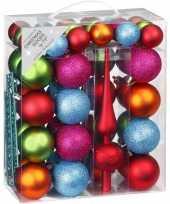 47x kunststof kerstballen pakket met piek gekleurd