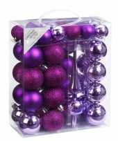 47x kunststof kerstballen pakket met piek paars