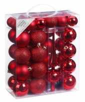 47x kunststof kerstballen pakket met piek rood
