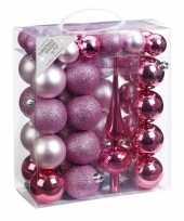 47x kunststof kerstballen pakket met piek roze