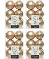 48x kunststof kerstballen glanzend mat donker parel champagne 6 cm kerstboom versiering decoratie