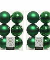 48x kunststof kerstballen glanzend mat kerst groen 8 cm kerstboom versiering decoratie