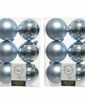 48x kunststof kerstballen glanzend mat lichtblauw 8 cm kerstboom versiering decoratie