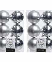48x kunststof kerstballen glanzend mat zilver 8 cm kerstboom versiering decoratie