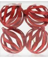 4x draad kerstballen rood met glitter 8 cm van kunststof plastic