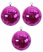 4x fuchsia roze spiegelballen disco kerstballen 8 cm