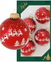 4x glazen glanzende kerstballen rood met arrenslee opdruk 7 cm