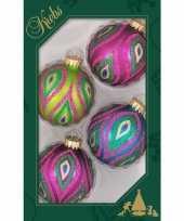 4x glazen glitter kerstballen in vrolijke kleuren 7 cm