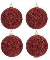 4x kerstballen kerst rode glitters 8 cm met kralen kunststof kerstboom versiering decoratie