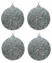 4x kerstballen zilveren glitters 8 cm met kralen kunststof kerstboom versiering decoratie