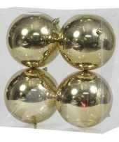 4x kunststof kerstballen glanzend goud 12 cm kerstboom versiering decoratie