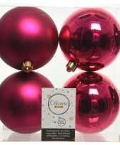 4x kunststof kerstballen glanzend mat bessen roze 10 cm kerstboom versiering decoratie