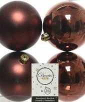 4x kunststof kerstballen glanzend mat mahonie bruin 10 cm kerstboom versiering decoratie