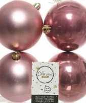 4x kunststof kerstballen glanzend mat oud roze 10 cm kerstboom versiering decoratie
