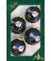 4x luxe navy blauwe velvet glazen kerstballen night before 7 cm