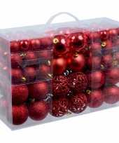 4x stuks kerstballen pakket met 100 rode voordelige kerstballen