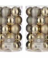 50x kunststof kerstballen goud 8 cm
