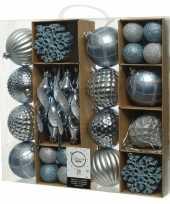 50x kunststof kerstballen mix blauw 4 8 15 cm kerstboom versiering decoratie