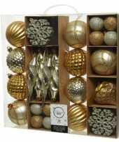50x kunststof kerstballen mix goud 4 8 15 cm kerstboom versiering decoratie