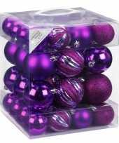 50x kunststof kerstballen pakket paars