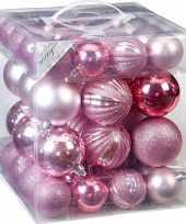 50x kunststof kerstballen pakket roze tinten