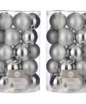 50x kunststof kerstballen zilver 8 cm