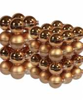 52x stuks glazen kerstballen koper 6 en 8 cm mat glans