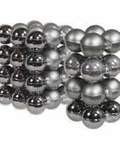 52x stuks glazen kerstballen titanium grijs 6 en 8 cm mat glans