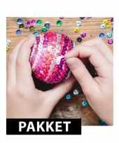 5x piepschuim kerstballen maken met pailletten 12 cm