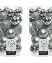 60x kunststof kerstballen glanzend mat glitter zilver kerstboom versiering decoratie