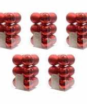 60x kunststof kerstballen glanzend mat kerst rood 6 cm kerstboom versiering decoratie