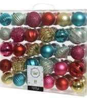 60x kunststof kerstballen mix rood goud groen 6 7 cm kerstboom versiering decoratie