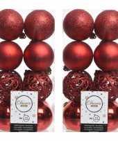 64x kunststof kerstballen mix kerst rood 6 cm kerstboom versiering decoratie
