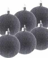 6x grijze cotton balls kerstballen decoratie 6 5 cm